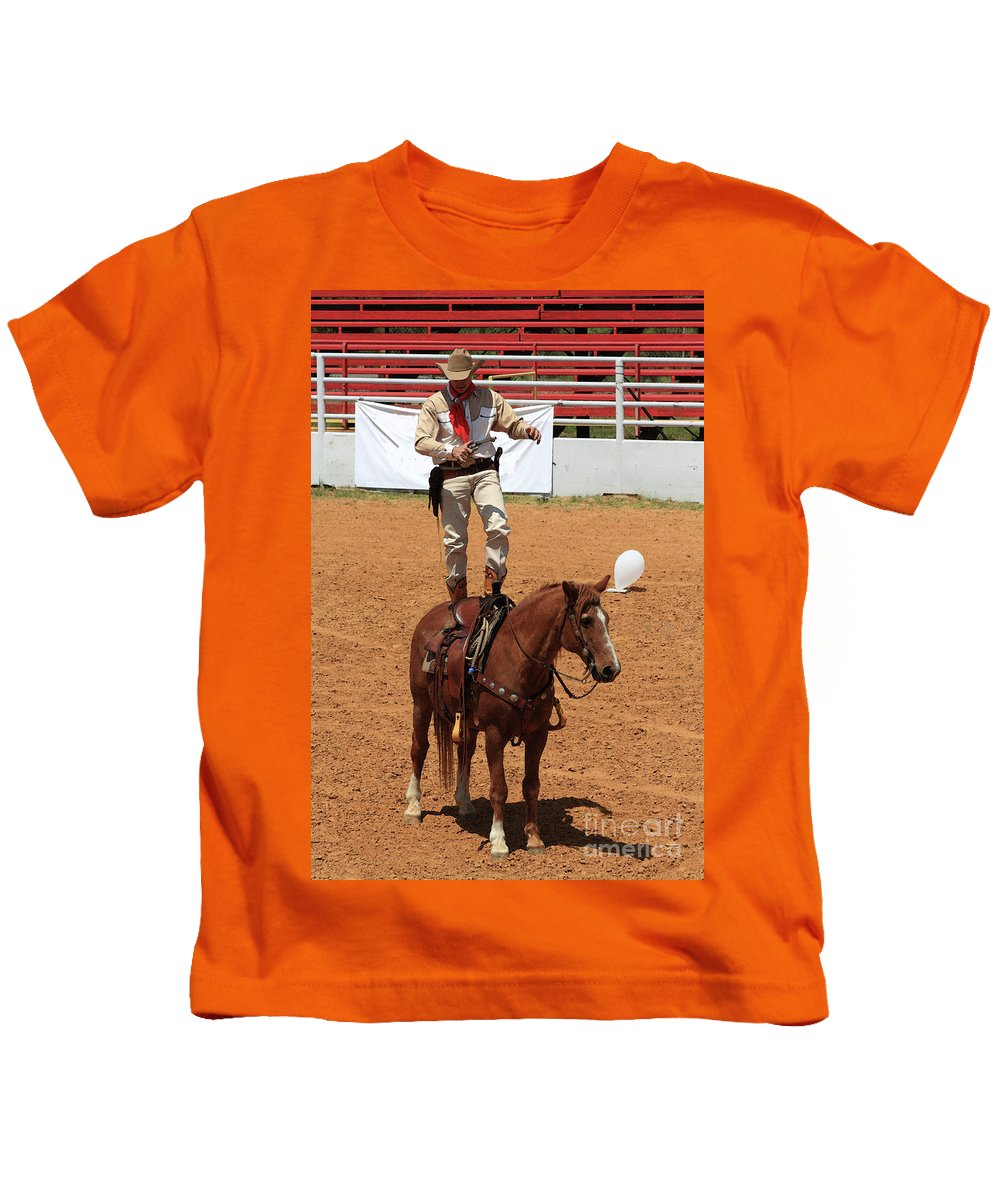 Western Art Kids T-Shirt featuring the photograph Fast Draw Cowboy by Kim Henderson