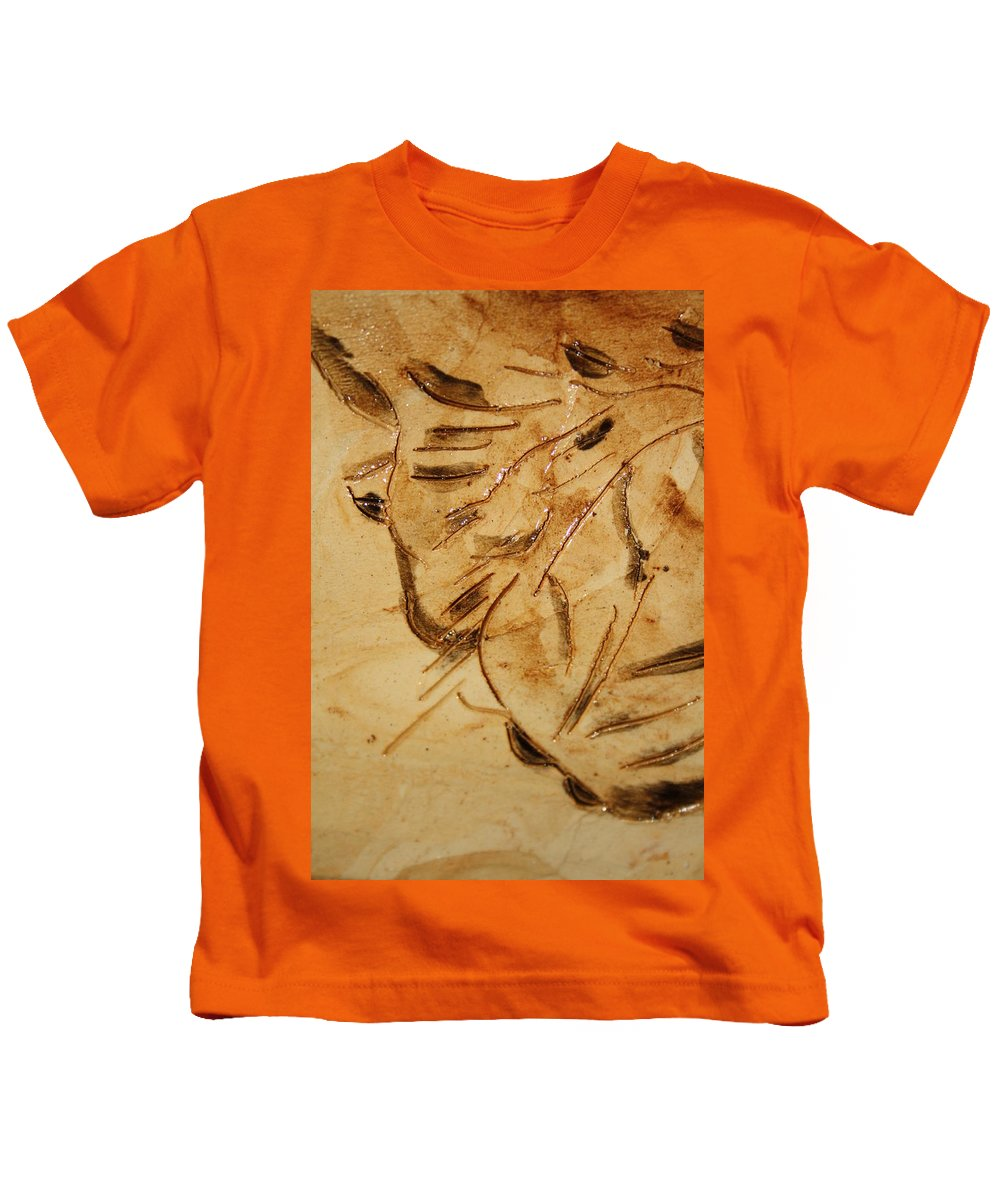 Gloria Ssali Kids T-Shirt featuring the ceramic art Fathers Joy Tile by Gloria Ssali