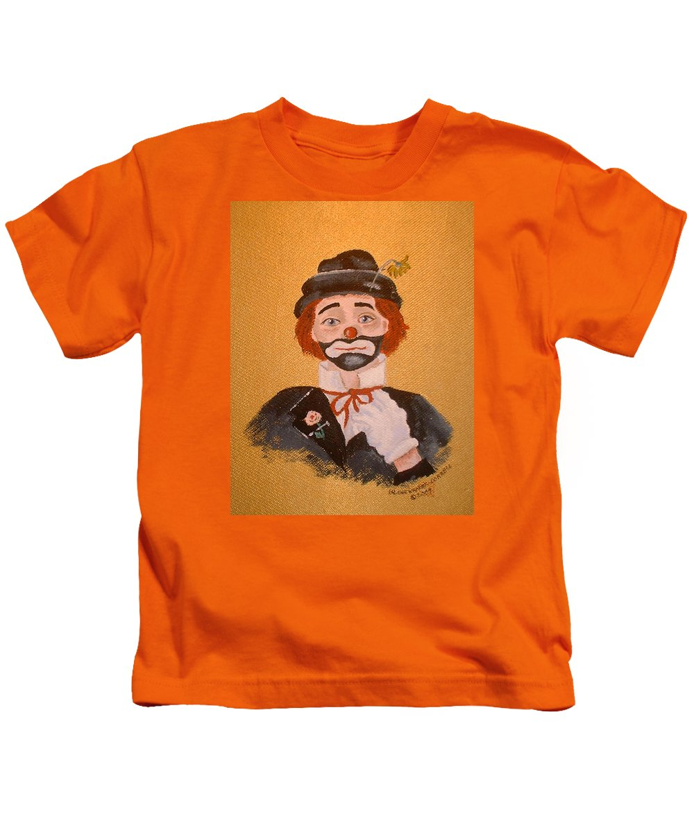 Felix The Clown Kids T-Shirt featuring the painting Felix The Clown by Arlene Wright-Correll
