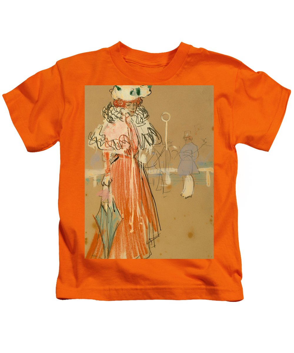 Painting Kids T-Shirt featuring the painting Female Figure In Red by Mountain Dreams
