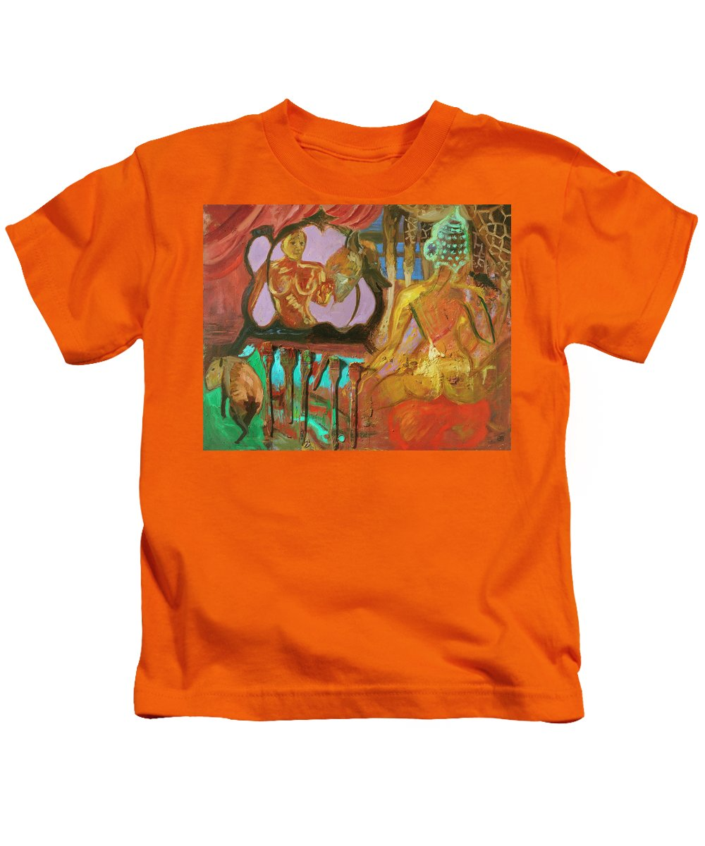 Indian Goddess Kids T-Shirt featuring the painting Female Mystic by Regina Gately