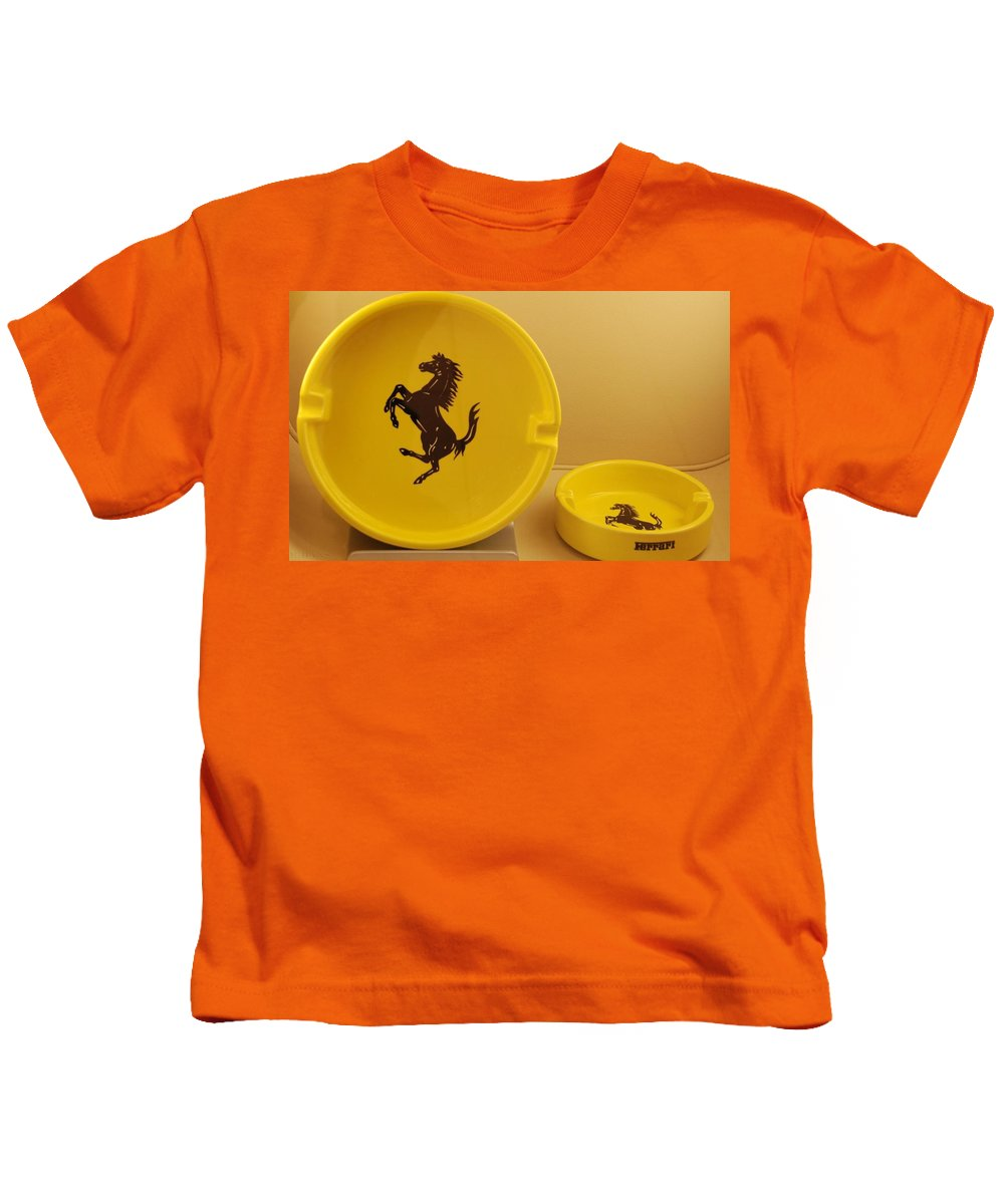Stallion Kids T-Shirt featuring the photograph Ferrari Ash Catchers by Rob Hans