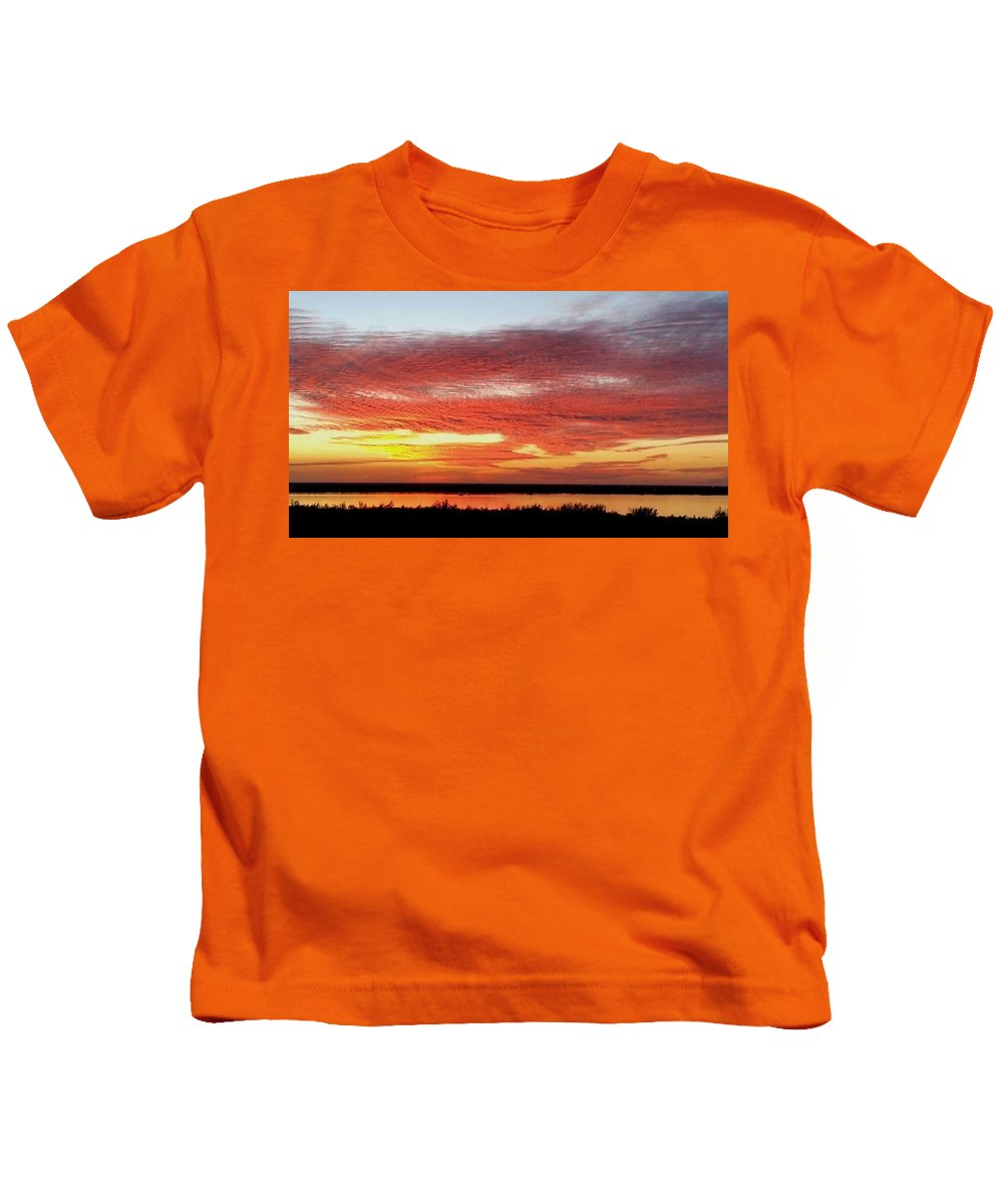Sunset Kids T-Shirt featuring the digital art Fire In The Sky by Jim Ferro