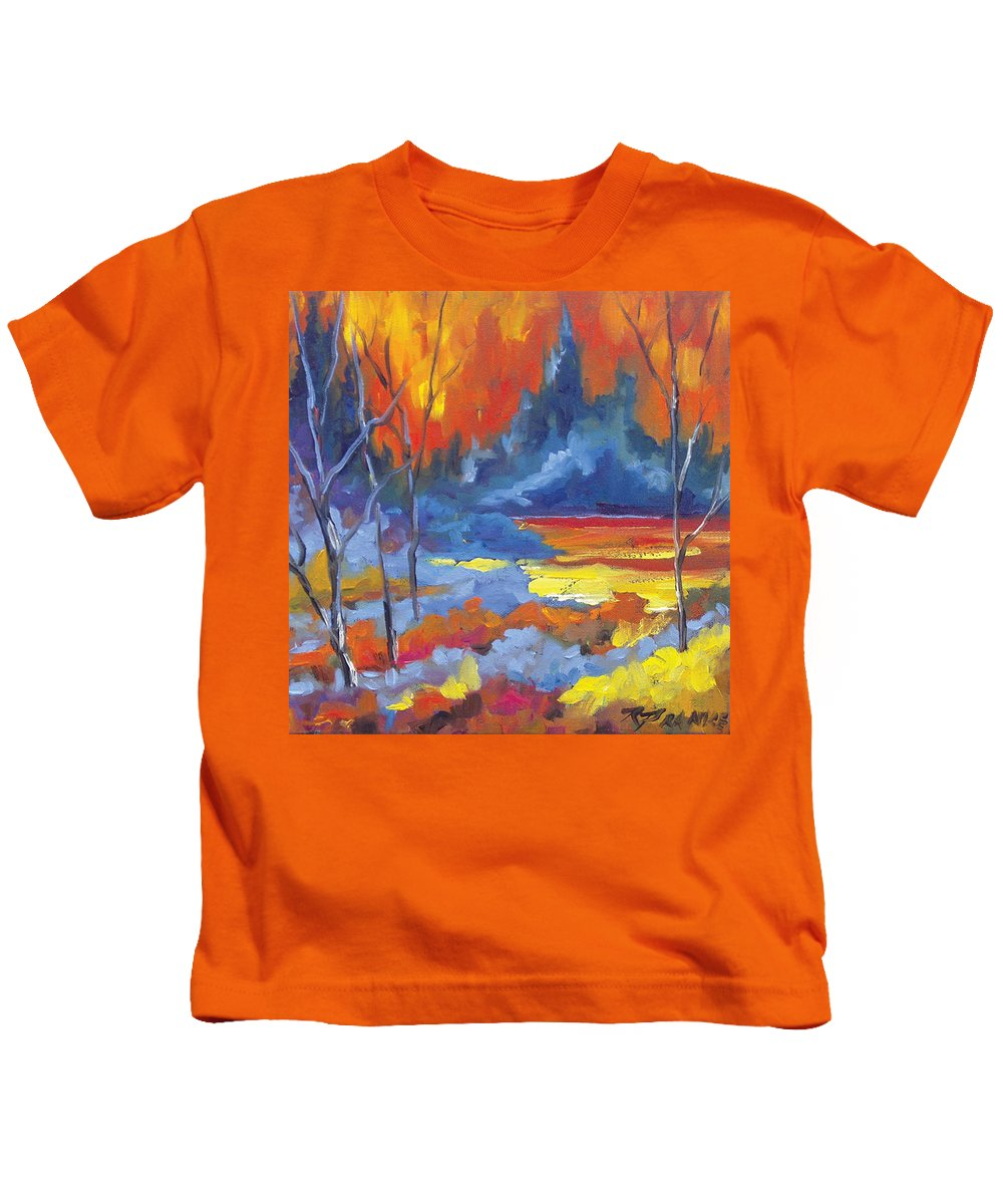 Art Kids T-Shirt featuring the painting Fire Lake by Richard T Pranke