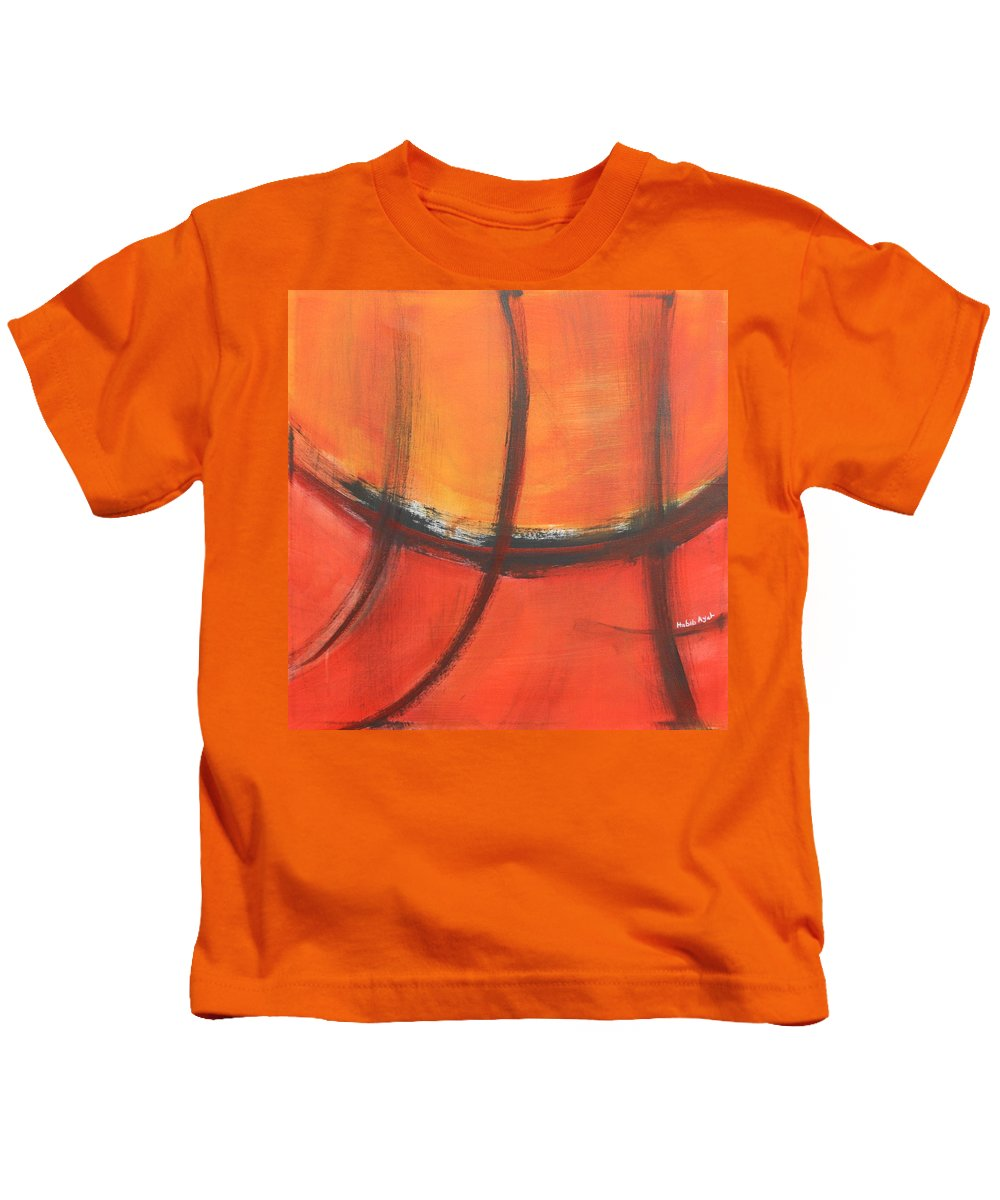 Abstract Kids T-Shirt featuring the painting Fire Red by Habib Ayat