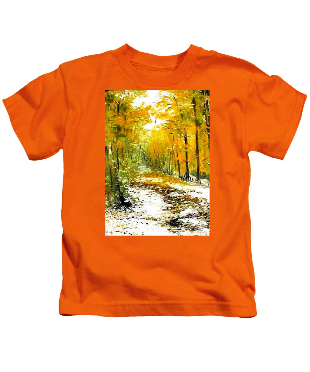 Landscape Kids T-Shirt featuring the painting First Snow by Boris Garibyan