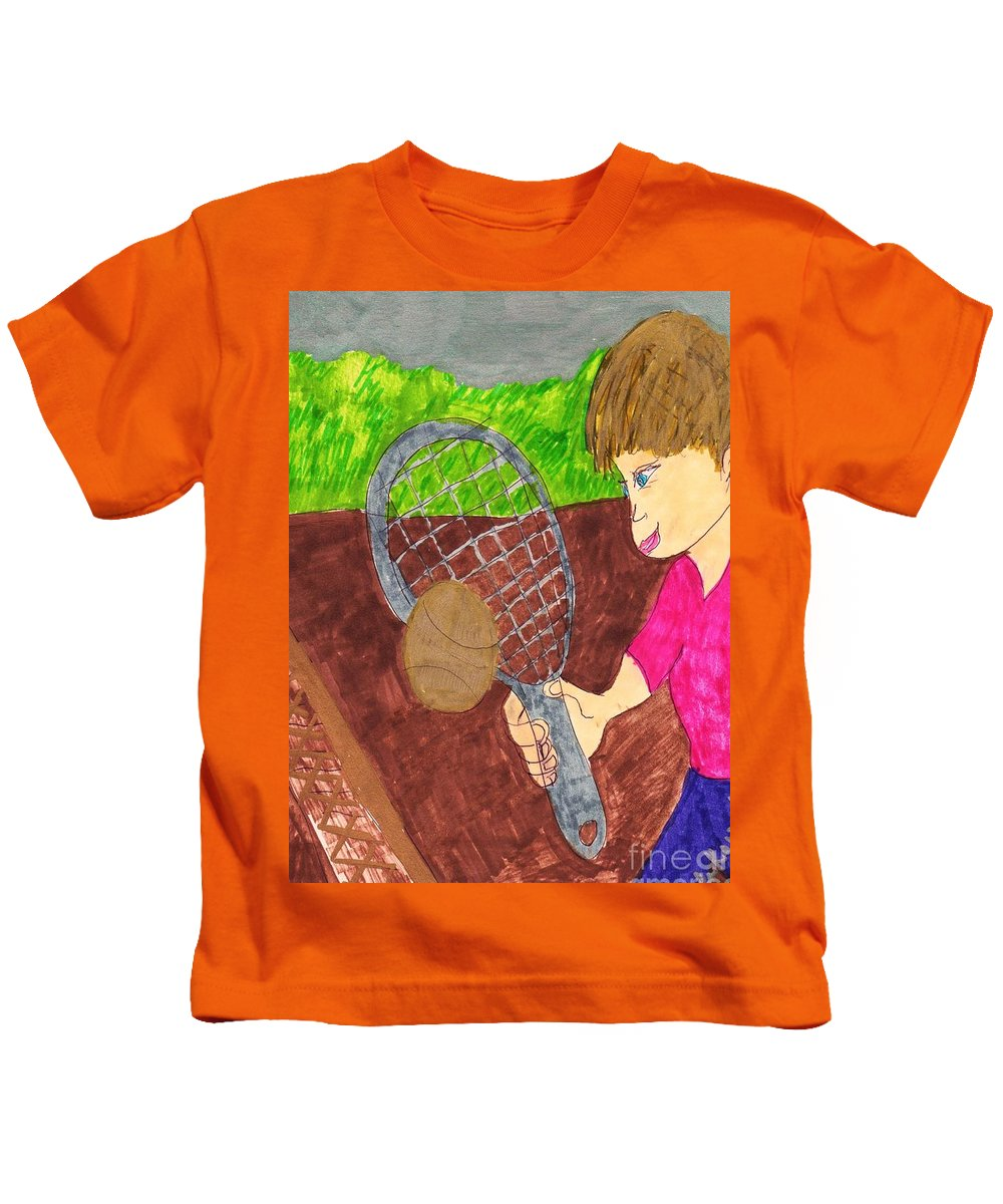 Boy Playing Tennis For The First Time Kids T-Shirt featuring the mixed media First Time For Tennis by Elinor Helen Rakowski
