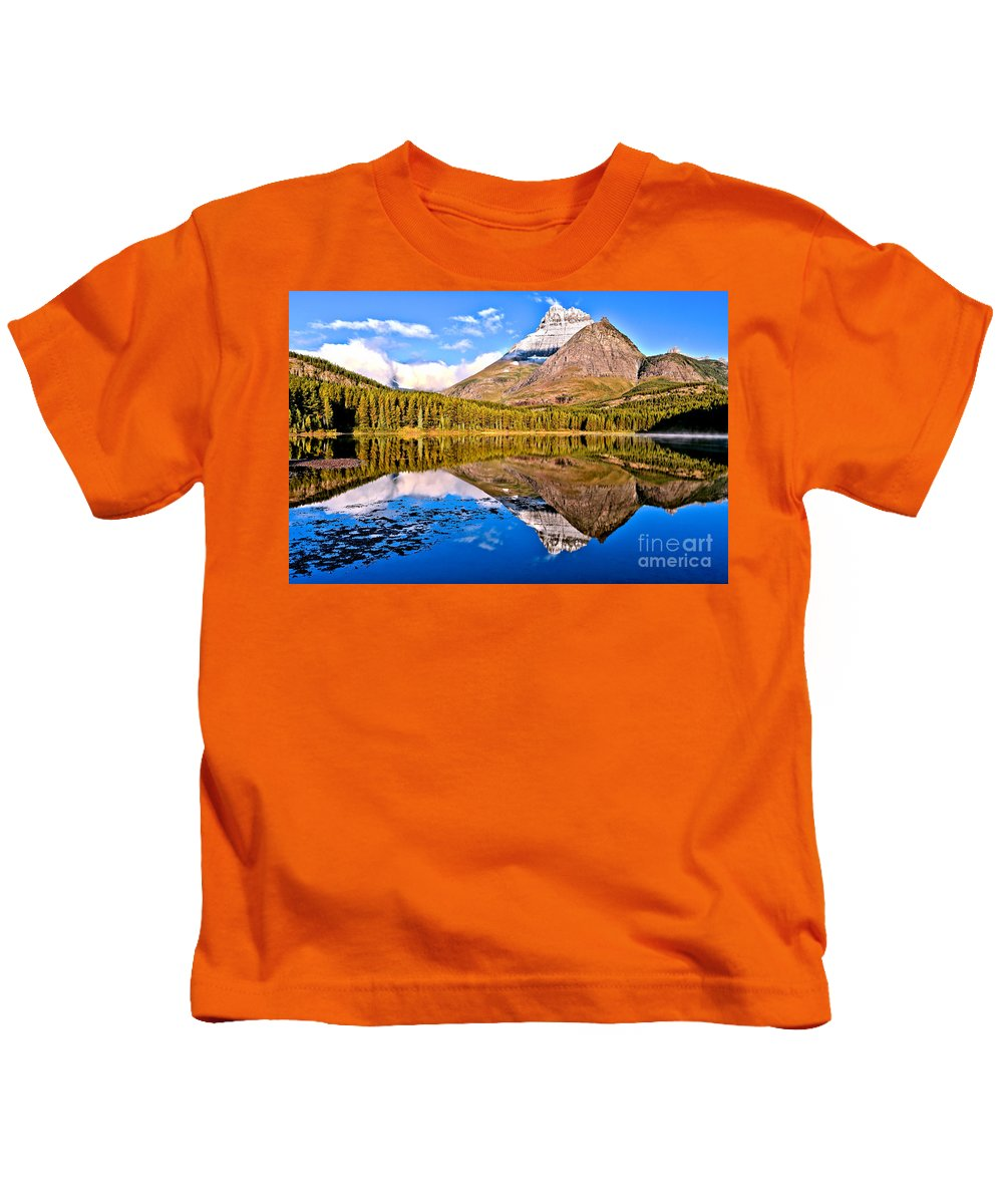 Fishercap Kids T-Shirt featuring the photograph Fishercap Blue Reflections by Adam Jewell