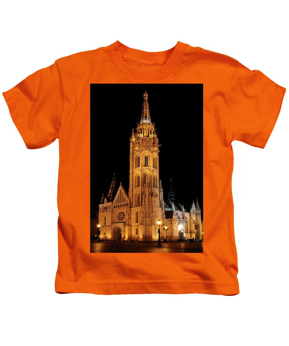 Architecture Kids T-Shirt featuring the digital art Fishermans Bastion - Budapest by Pat Speirs