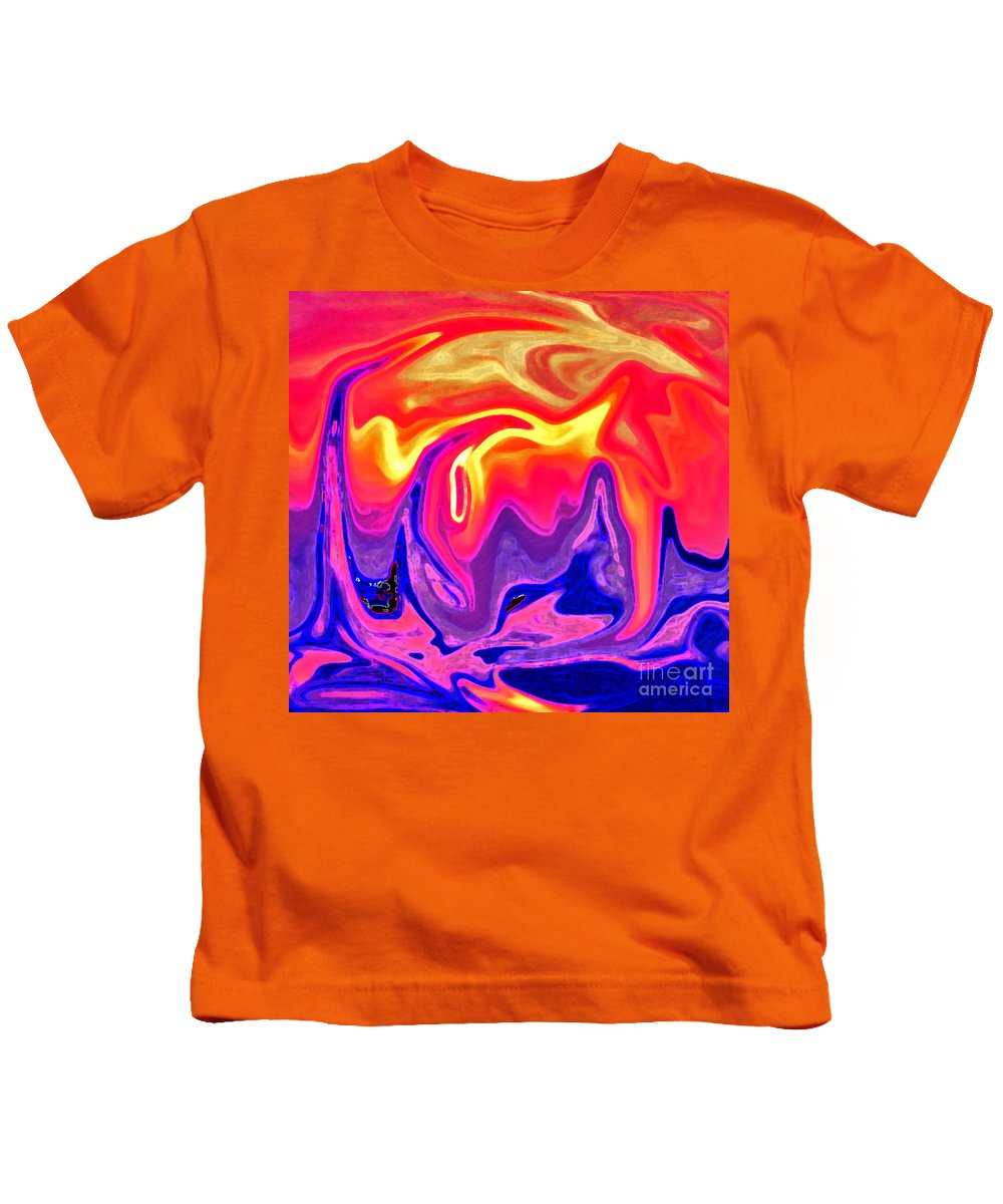 Abstract Painting Kids T-Shirt featuring the painting Flame by Rita Brown