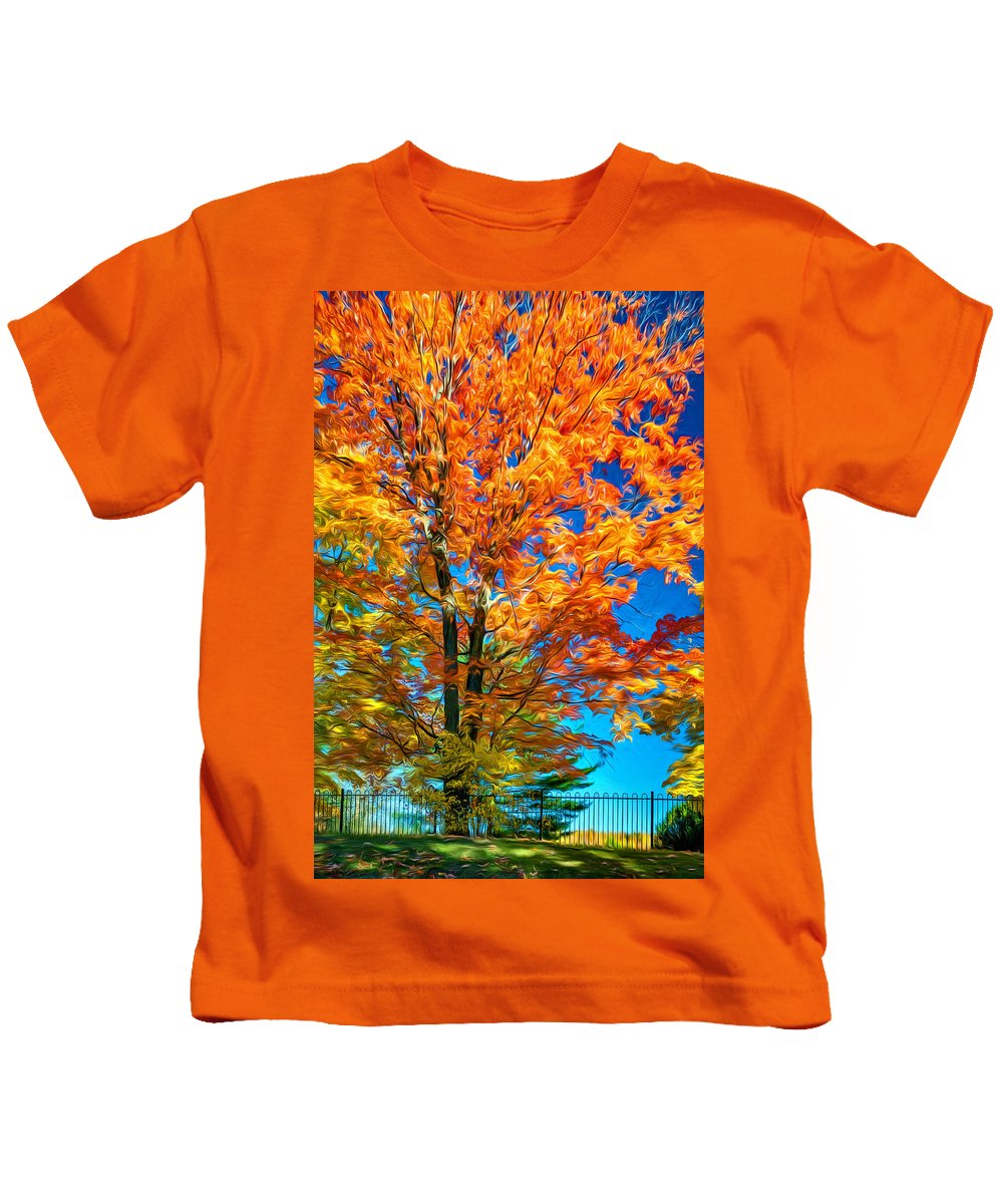 Maples Kids T-Shirt featuring the photograph Flaming Maple - Paint by Steve Harrington