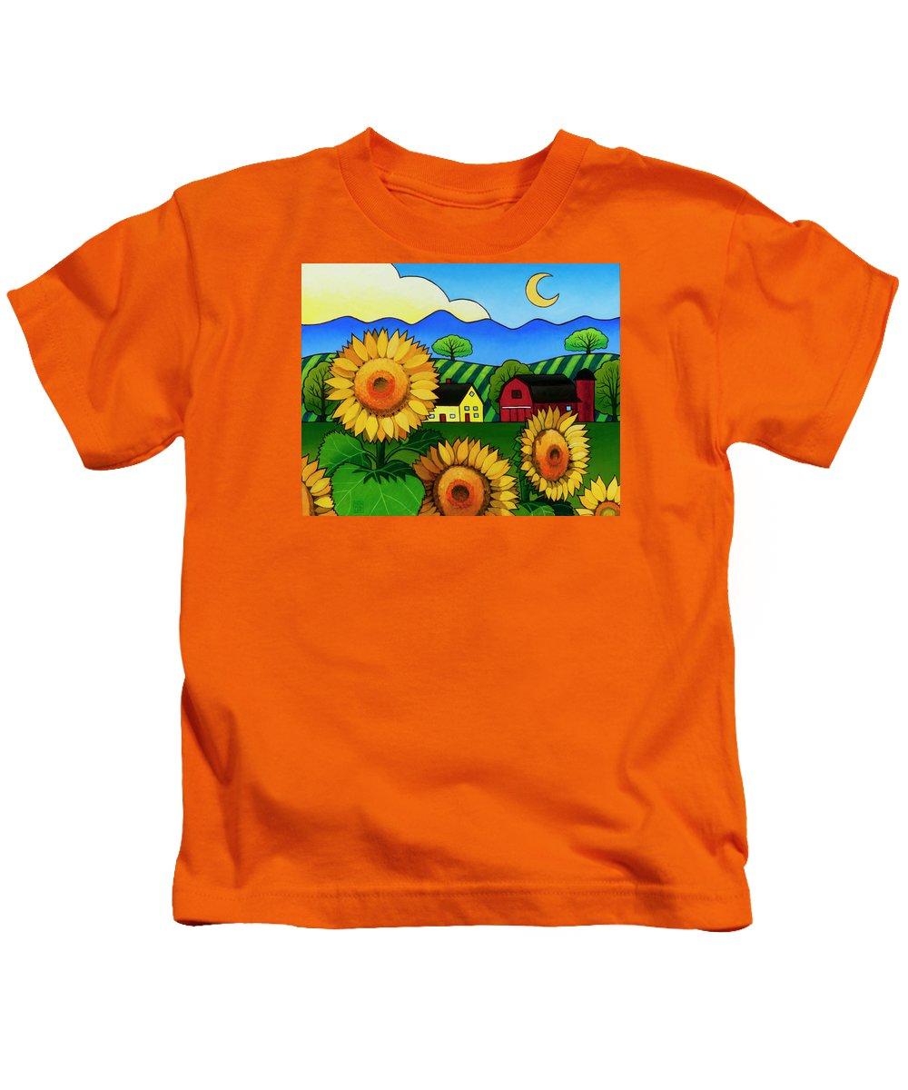 Sunflower Kids T-Shirt featuring the painting Fleur Du Soleil by Stacey Neumiller
