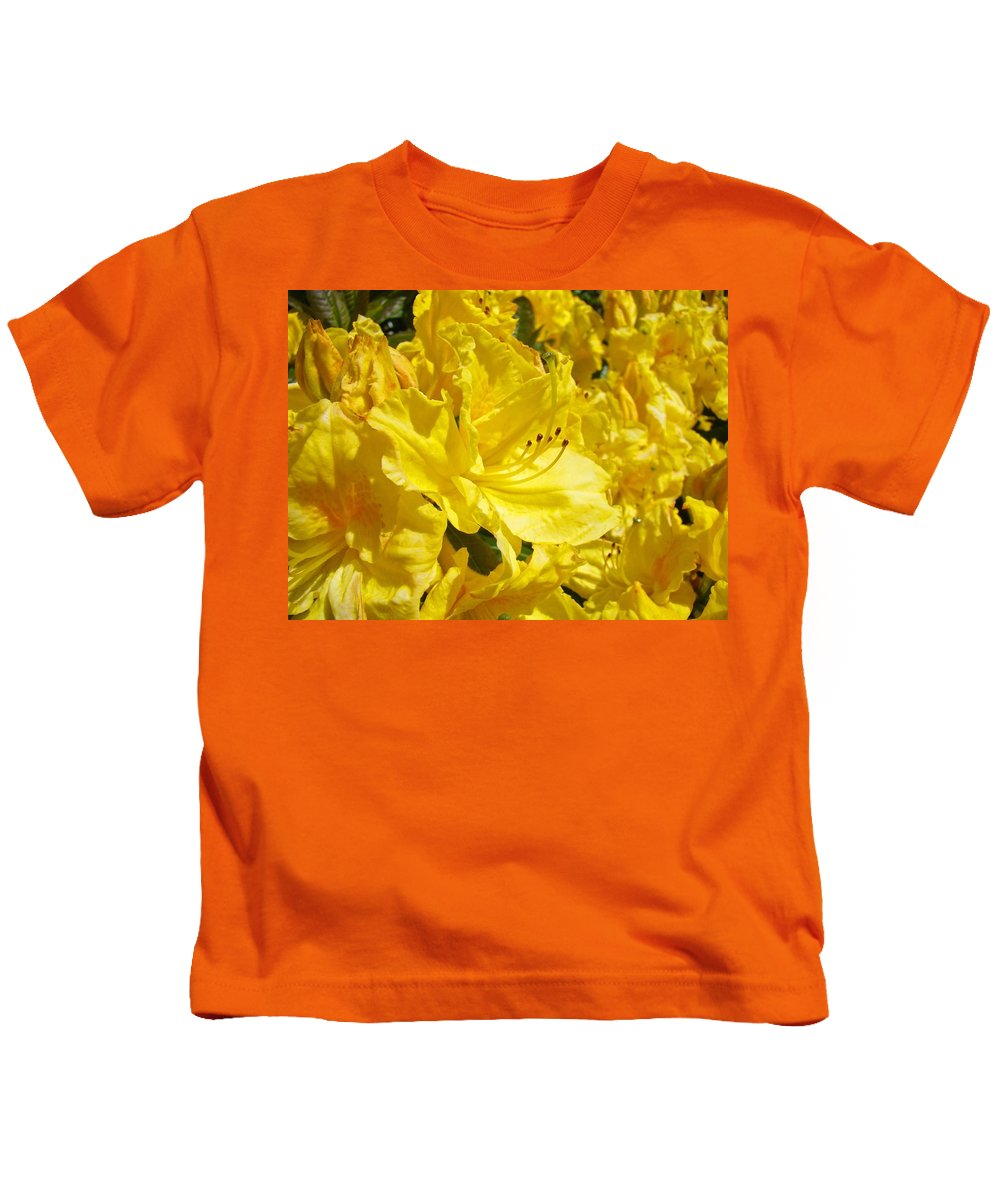 Rhodies Kids T-Shirt featuring the photograph Floral Rhododendrons Garden Art Print Yellow Rhodies Baslee Troutman by Baslee Troutman