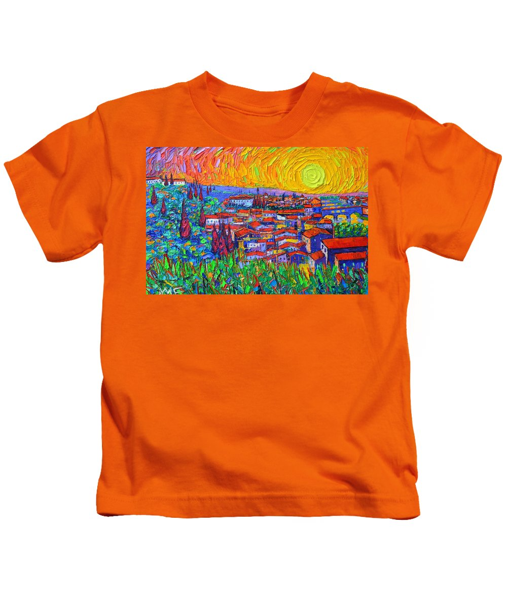 Florence Kids T-Shirt featuring the painting Florence Sunset 7 Modern Impressionist Abstract City Impasto Knife Oil Painting Ana Maria Edulescu by Ana Maria Edulescu