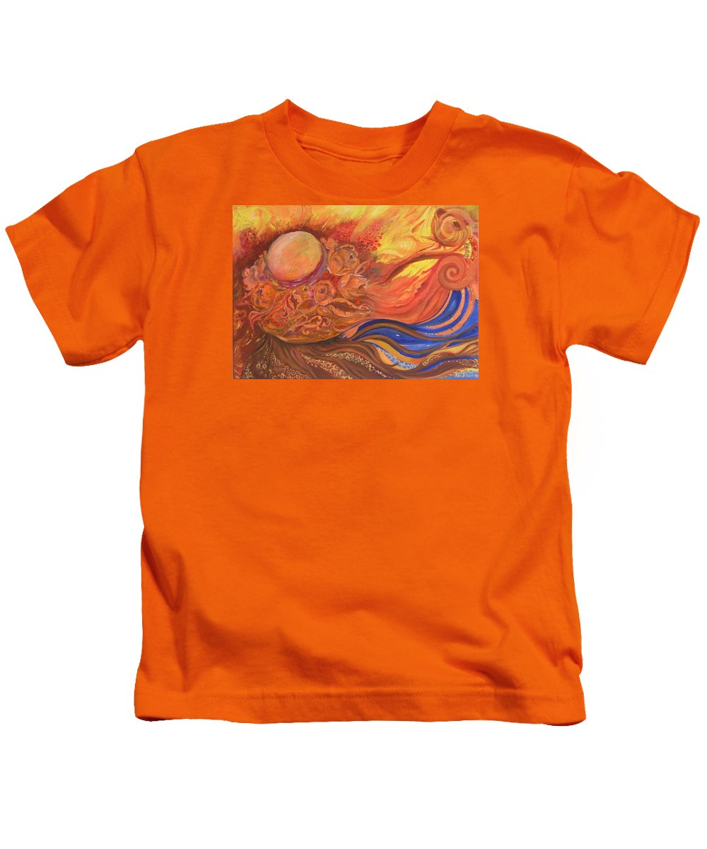 Abstract Kids T-Shirt featuring the painting Flower Dream by Rita Fetisov