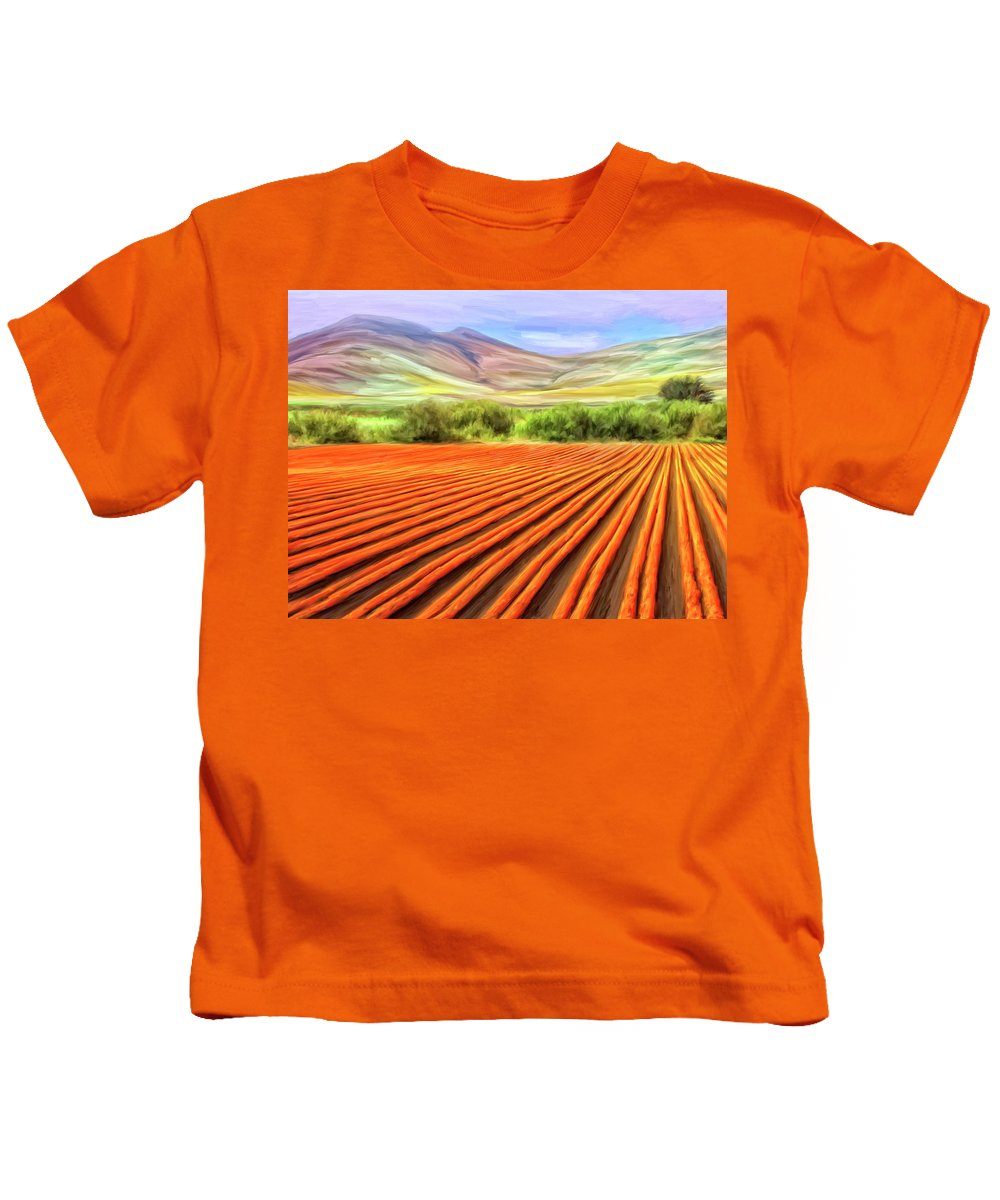 Flower Field Kids T-Shirt featuring the painting Flower Field Near Los Osos by Dominic Piperata