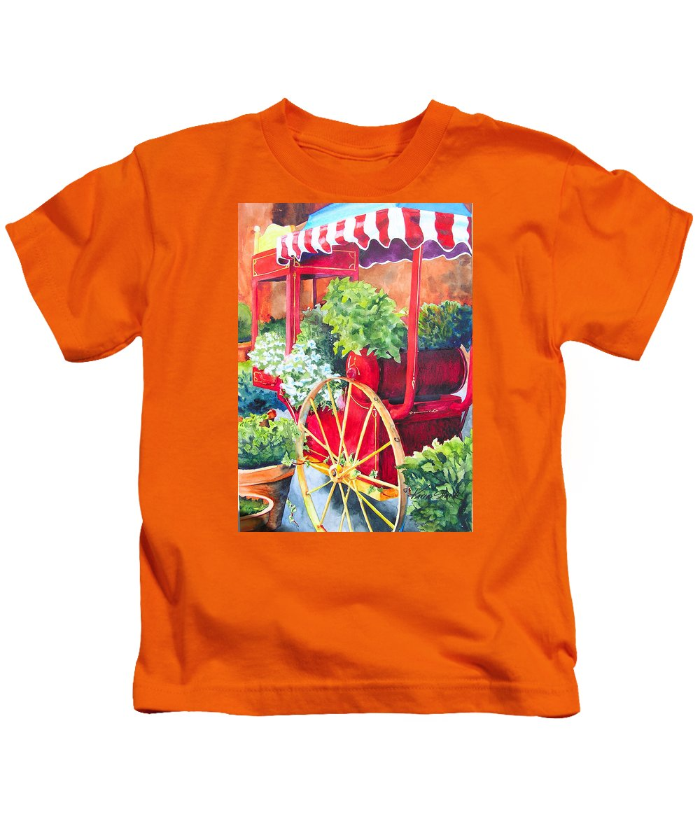 Floral Kids T-Shirt featuring the painting Flower Wagon by Karen Stark