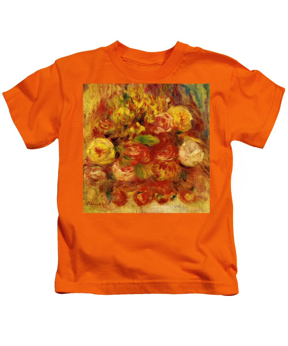 Flowers Kids T-Shirt featuring the painting Flowers In A Vase With Blue Decoration by Renoir PierreAuguste