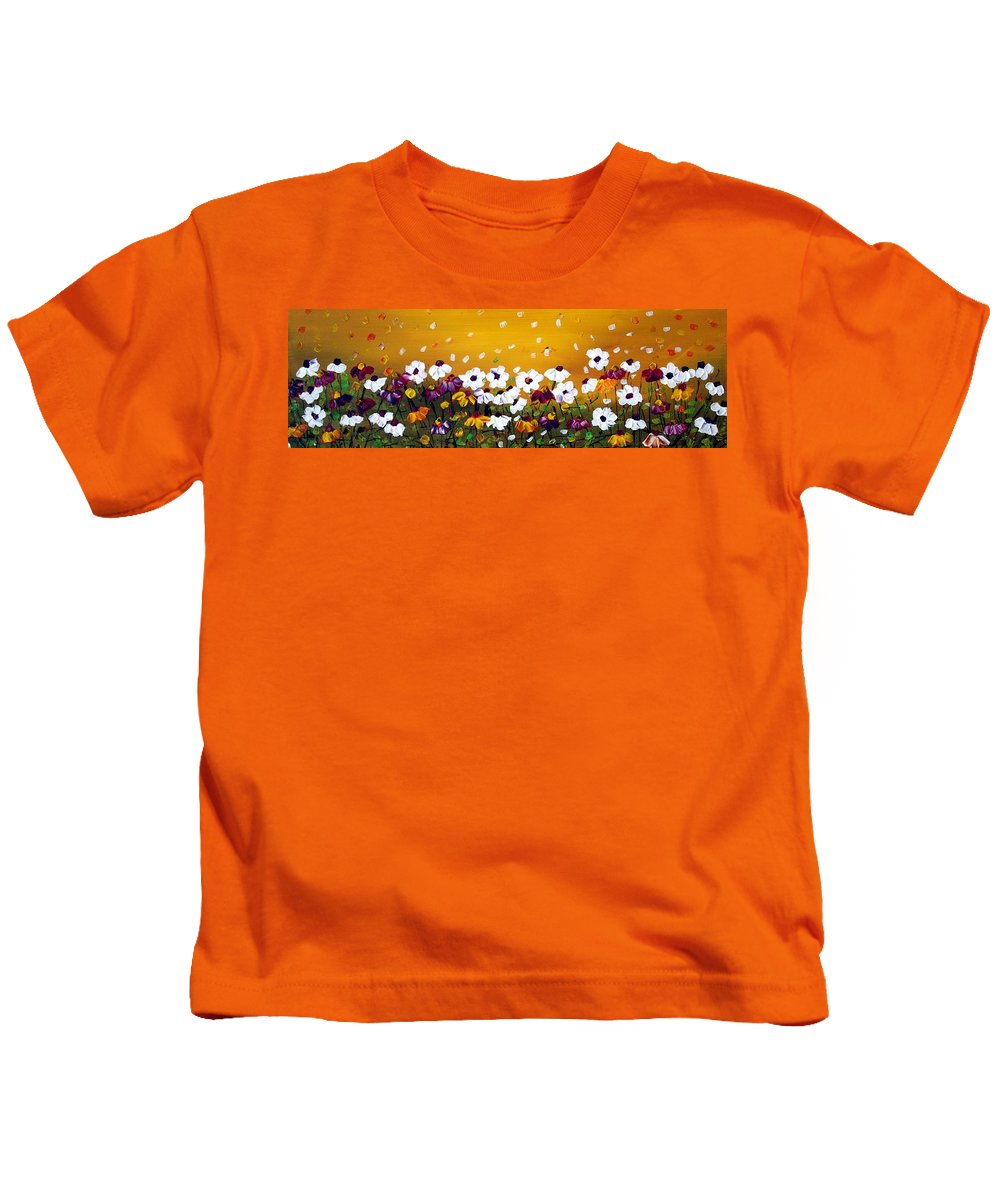 Flowers Kids T-Shirt featuring the painting Flowers In The Sunset by Luiza Vizoli