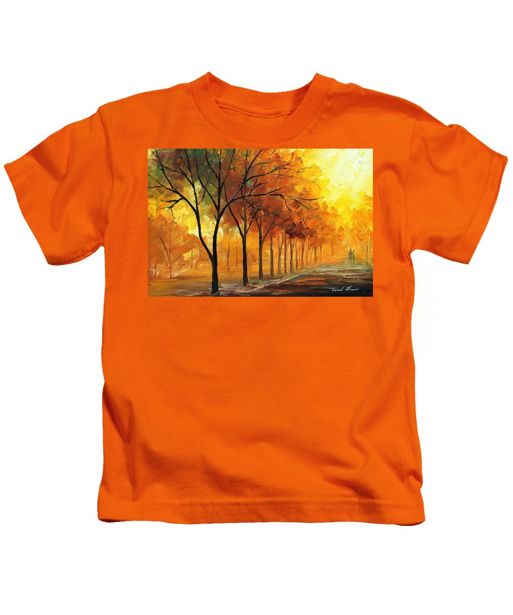 Afremov Kids T-Shirt featuring the painting Foggy Path by Leonid Afremov