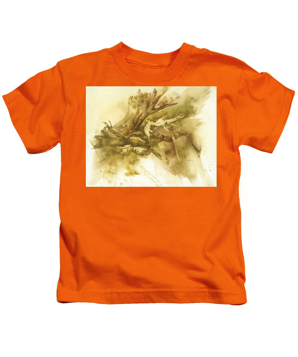 Kids T-Shirt featuring the painting Forest From Above by Ellen Palmer Legacy Art