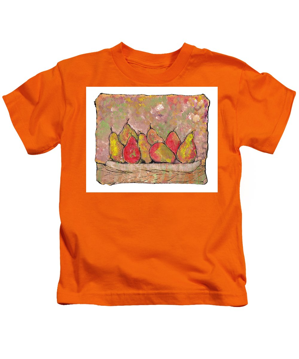 Pears Kids T-Shirt featuring the painting Four Pair Of Pears by Wayne Potrafka