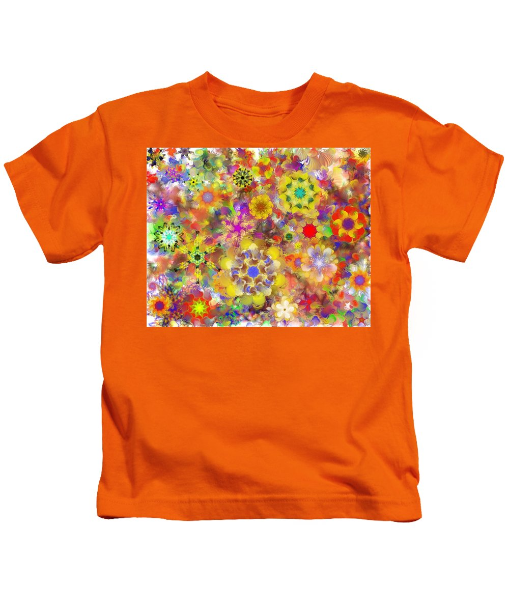 Digital Painting Kids T-Shirt featuring the digital art Fractal Floral Study 2 by David Lane