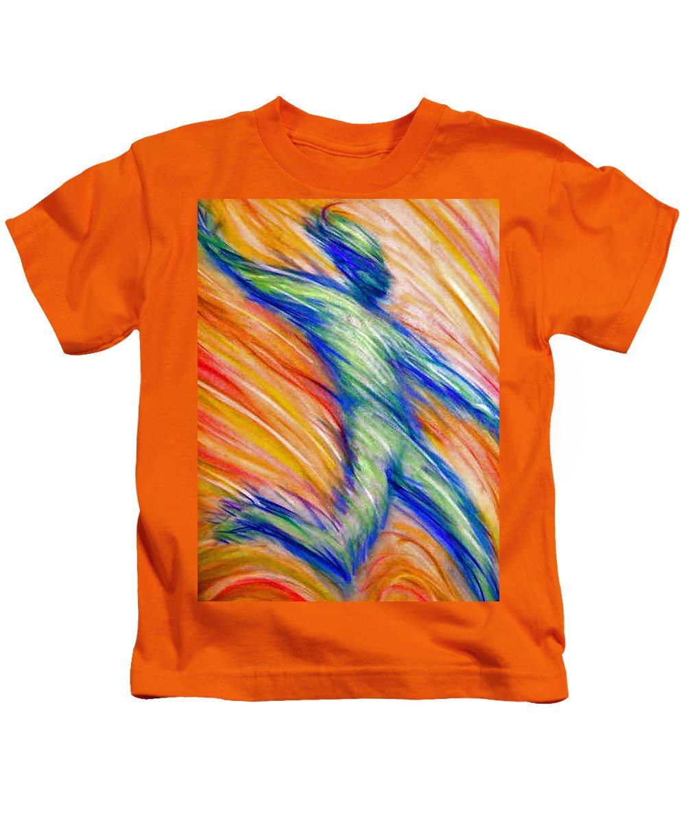 Kids T-Shirt featuring the drawing Free Fall by Jan Gilmore