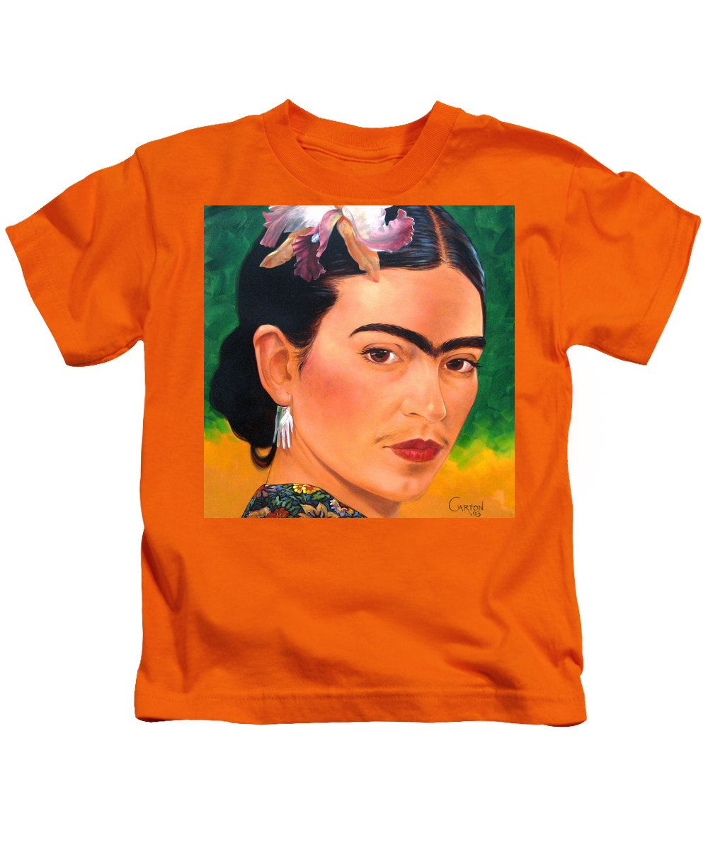 Frida Kahlo Kids T-Shirt featuring the painting Frida Kahlo 2003 by Jerrold Carton