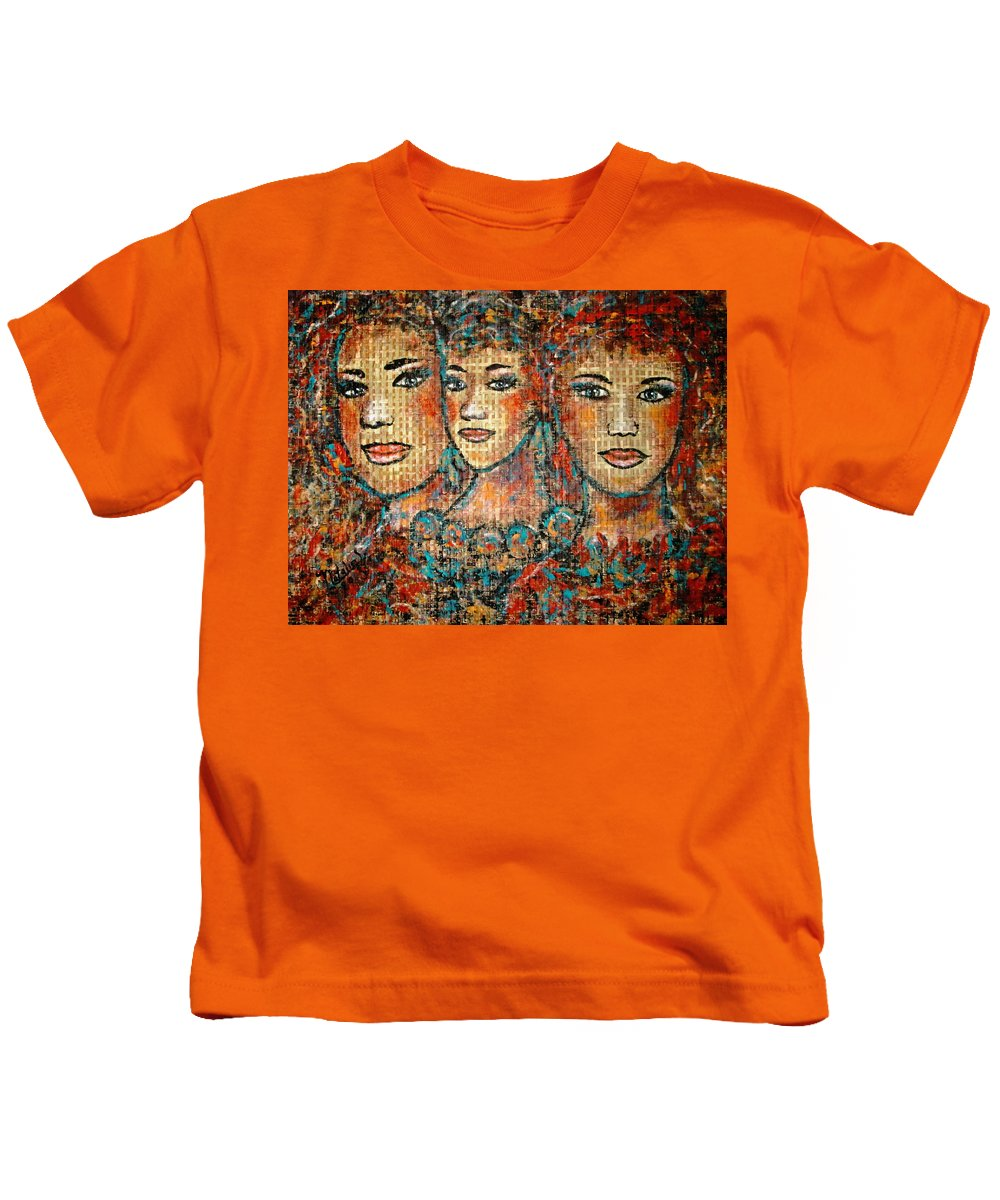 Friends Kids T-Shirt featuring the painting Friends Forever by Natalie Holland