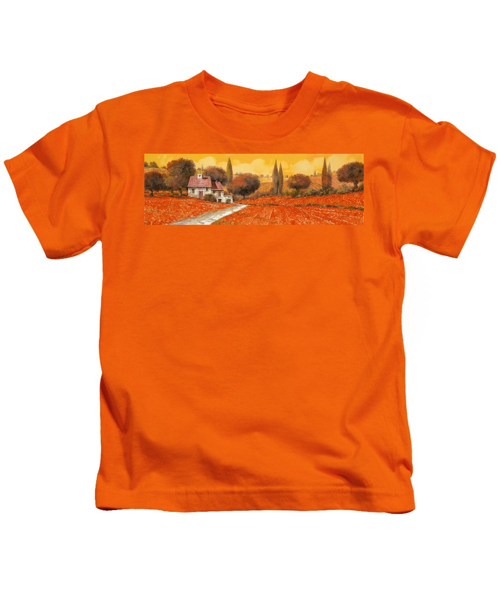 Tuscany Kids T-Shirt featuring the painting fuoco di Toscana by Guido Borelli
