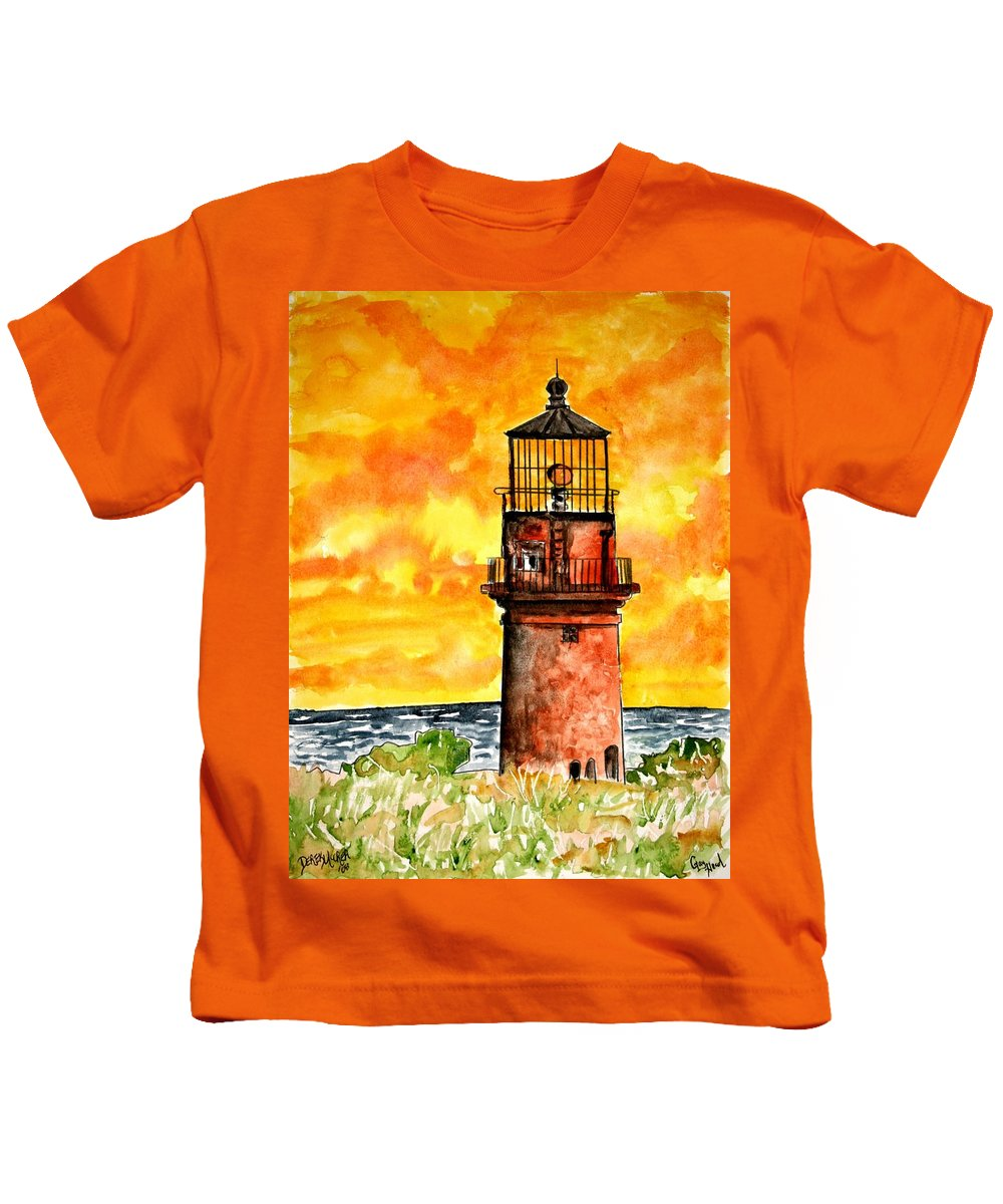 Beach Kids T-Shirt featuring the painting Gay Head Lighthouse Martha's Vineyard by Derek Mccrea