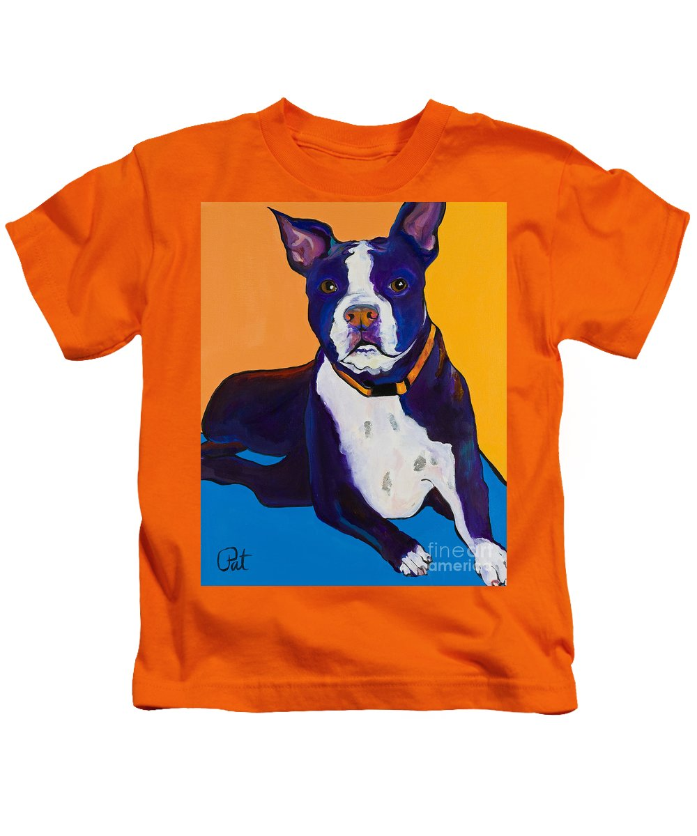 Boston Terrier Kids T-Shirt featuring the painting Georgie by Pat Saunders-White