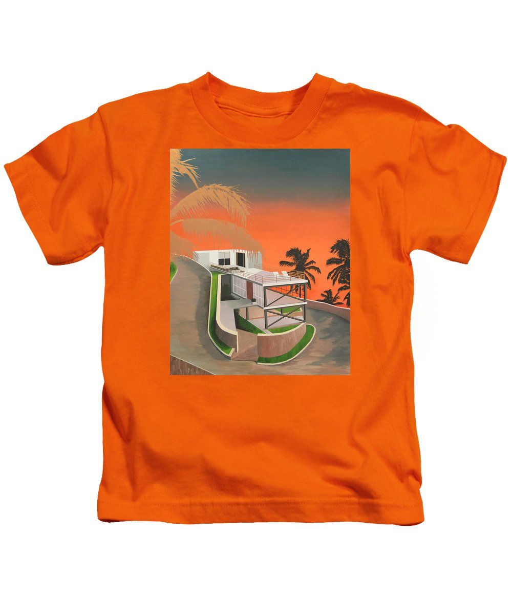 Gradient Kids T-Shirt featuring the painting Gilded Fronds by Slade Hartwell