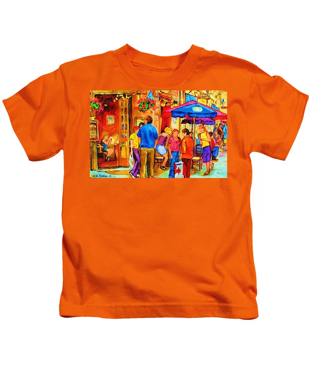 Montreal Cafe Scenes Kids T-Shirt featuring the painting Girl In The Cafe by Carole Spandau