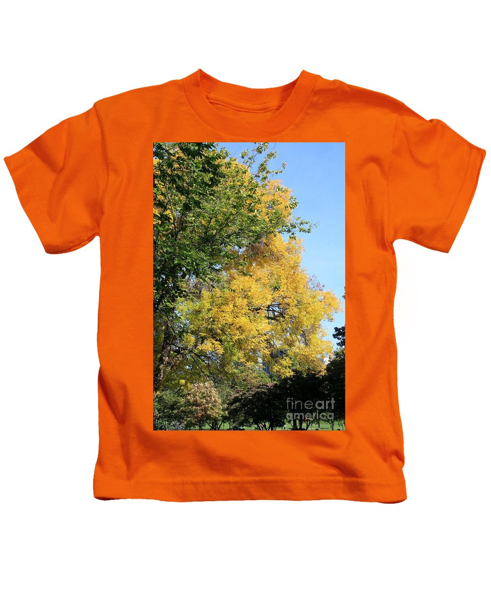 Autumn Kids T-Shirt featuring the photograph Gold And Green by Mesa Teresita