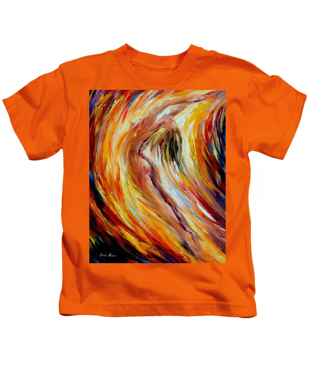 Nude Kids T-Shirt featuring the painting Gold Falls by Leonid Afremov