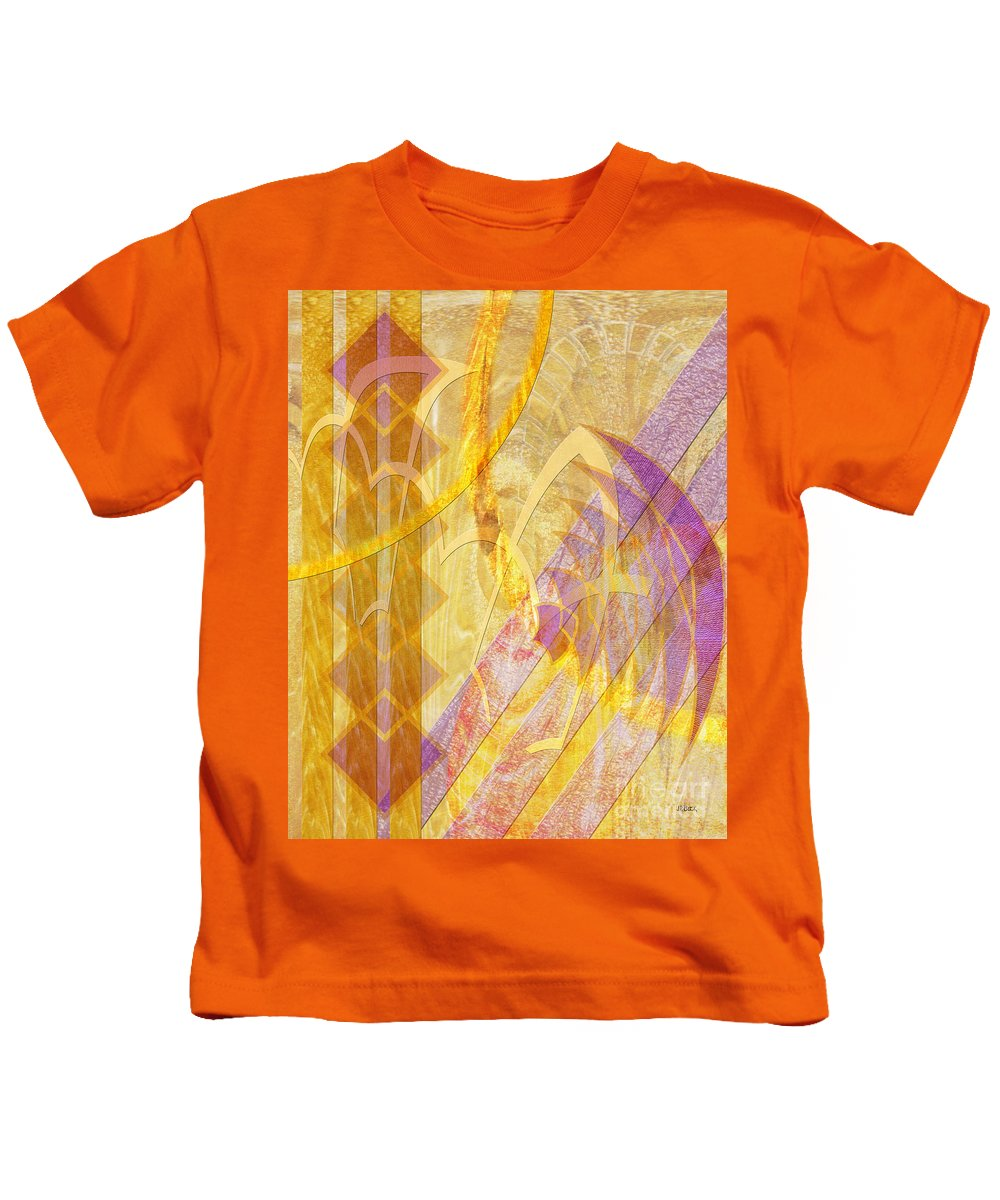 Gold Fusion Kids T-Shirt featuring the digital art Gold Fusion by John Beck