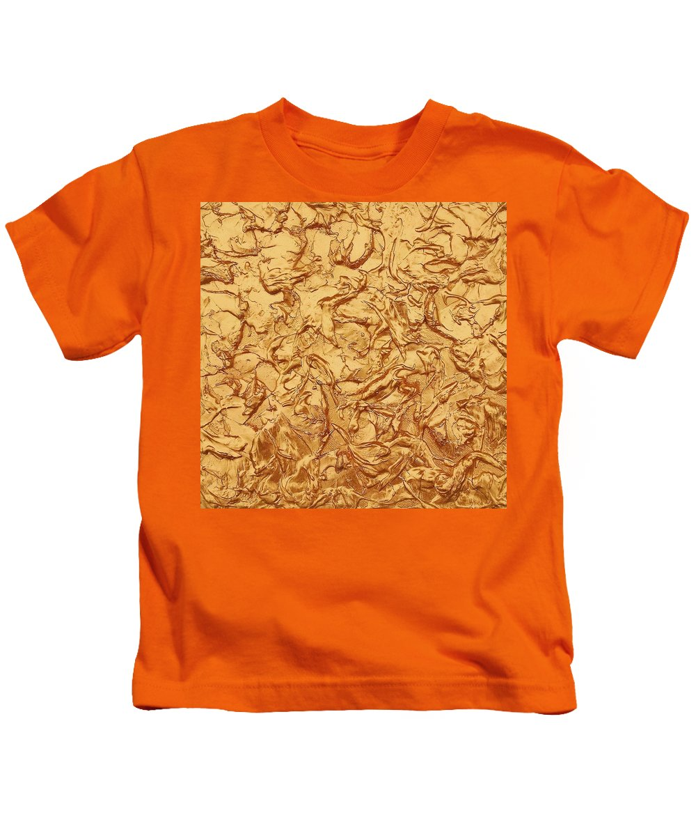 Acrylic Paint Kids T-Shirt featuring the painting Gold Waves by Alan Casadei