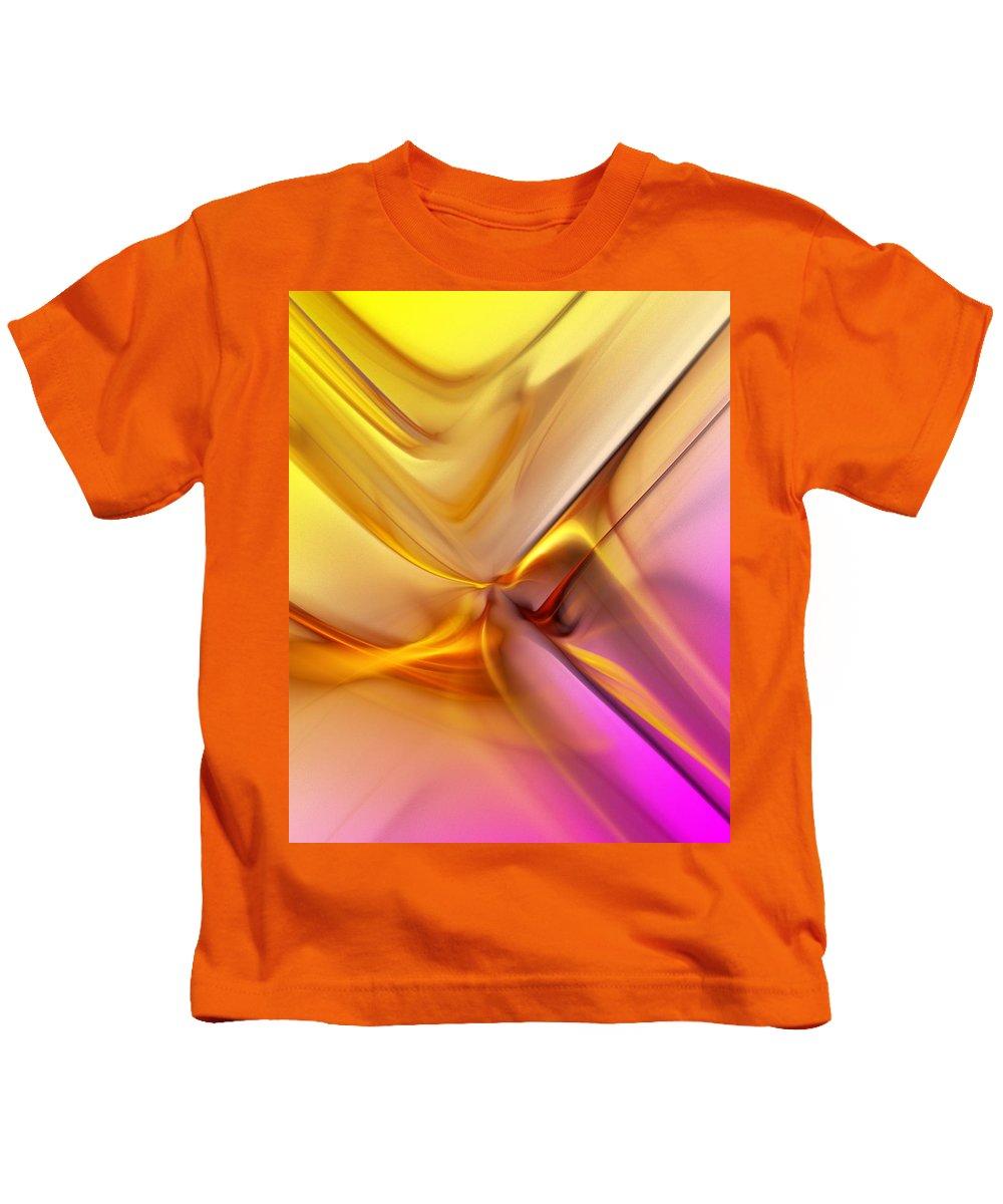 Fine Art Kids T-Shirt featuring the digital art Golden Abstract 042711 by David Lane