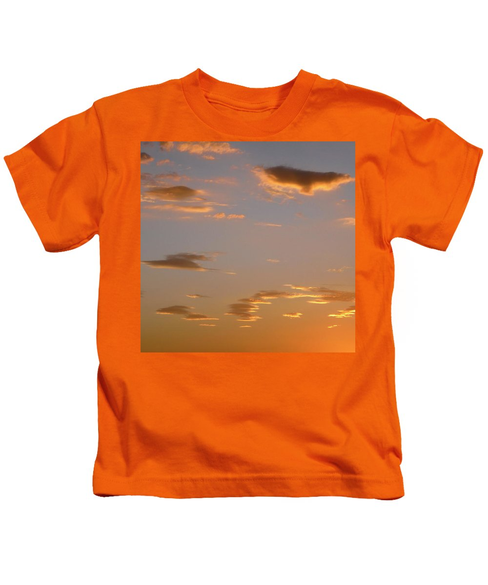 Clouds Kids T-Shirt featuring the photograph Golden Clouds by Stephanie Moore