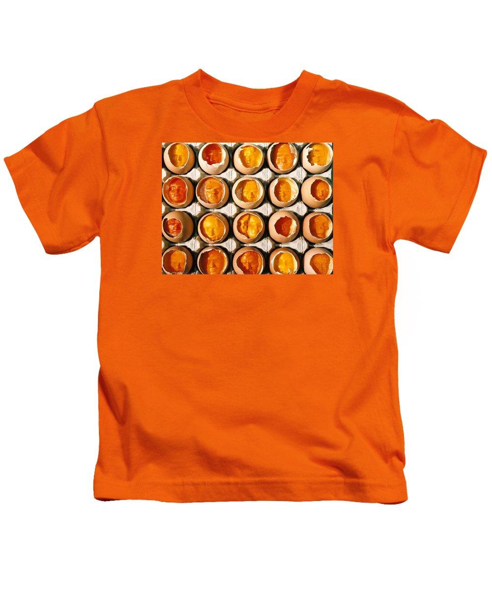 Eggs Kids T-Shirt featuring the sculpture Golden Eggs 2 by Mark Cawood