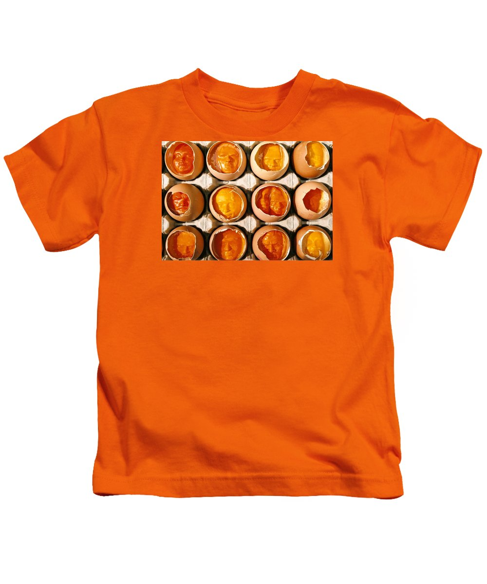 Eggs Kids T-Shirt featuring the sculpture Golden Eggs by Mark Cawood