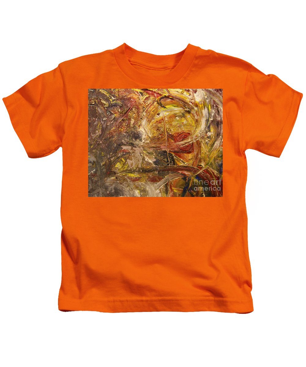 Abstract Expressionism Kids T-Shirt featuring the painting Golden Reward by Helene Gross