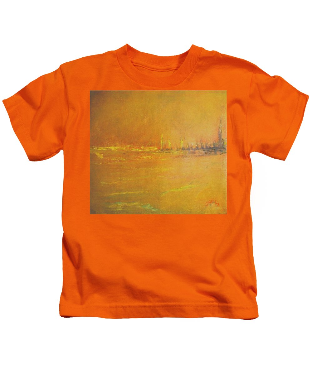 Ships Kids T-Shirt featuring the painting Golden Sky by Jack Diamond