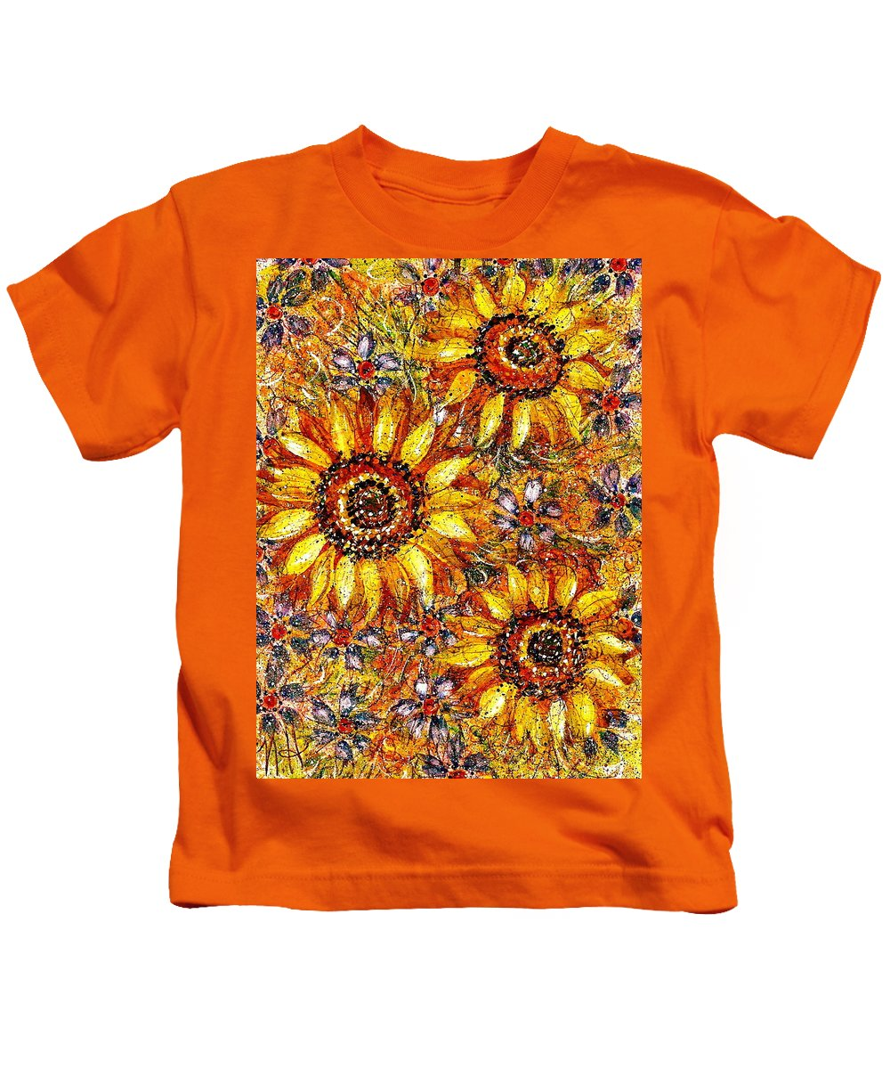 Sunflowers Kids T-Shirt featuring the painting Golden Sunflower by Natalie Holland