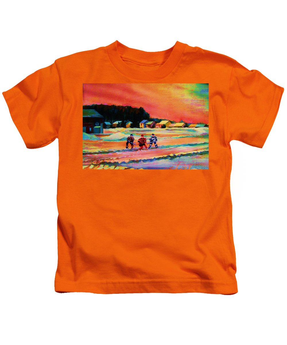 Hockey Landscape Kids T-Shirt featuring the painting Gorgeous Day For A Game by Carole Spandau