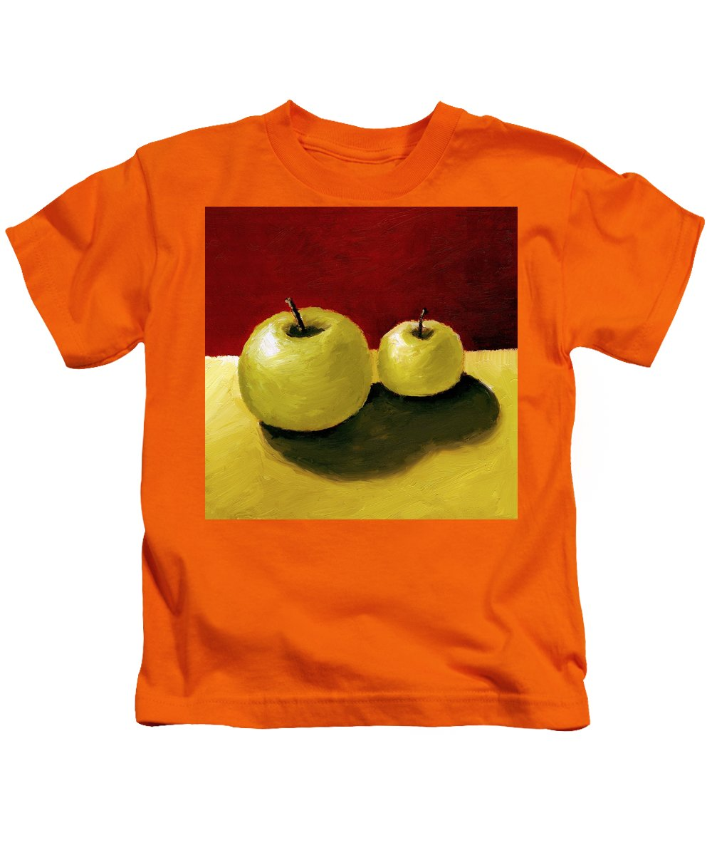 Apple Kids T-Shirt featuring the painting Granny Smith Apples by Michelle Calkins