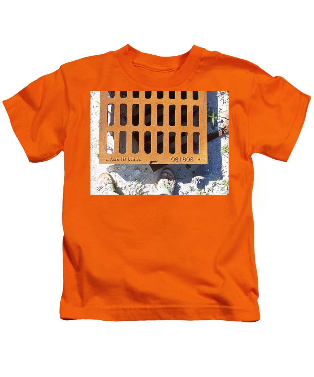 Pattern Kids T-Shirt featuring the photograph Grate In Summer Sun by Laurie Paci