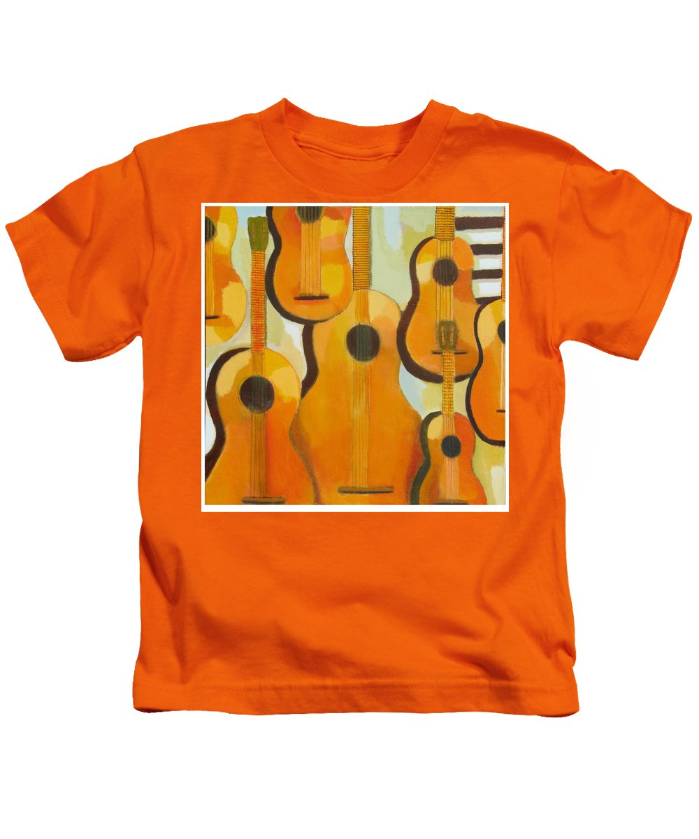 Abstract Kids T-Shirt featuring the painting Guitars by Habib Ayat
